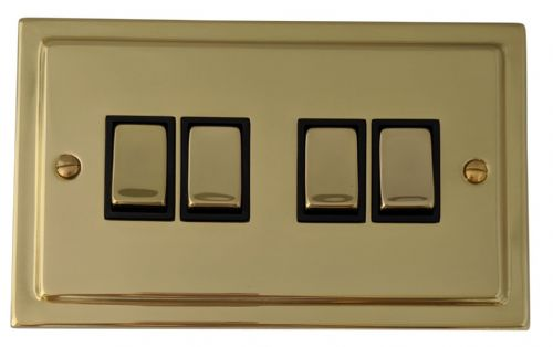 G&H TB304 Trimline Plate Polished Brass 4 Gang 1 or 2 Way Rocker Light Switch